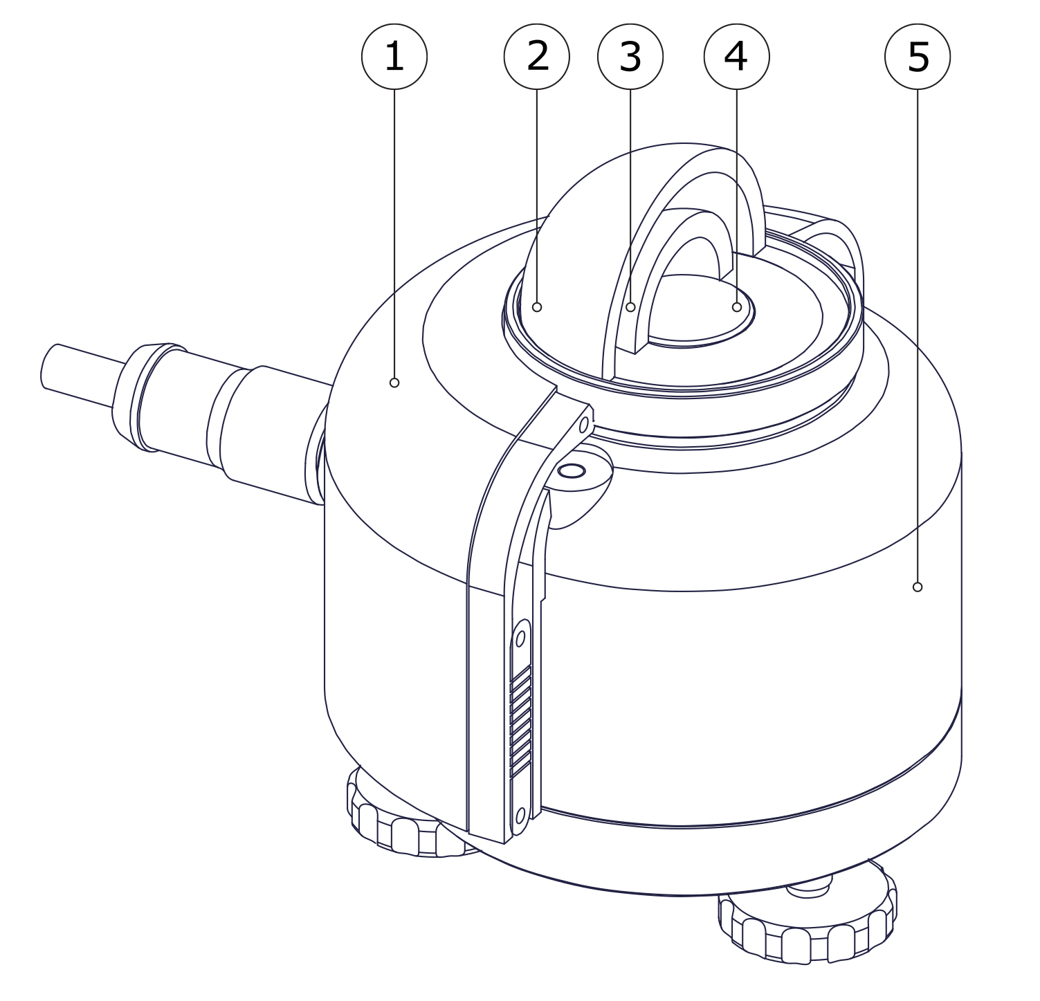 essential parts of a typical thermopile pyranometer: sunscreen (1), outer dome (2), inner dome (3), thermopile with sensor surface (4) and aluminium sensor body (5)