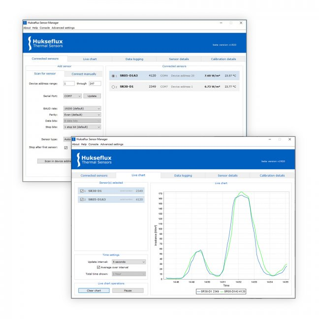 Configure Modbus sensor and serial communication settings with the Hukseflux Sensor Manager software